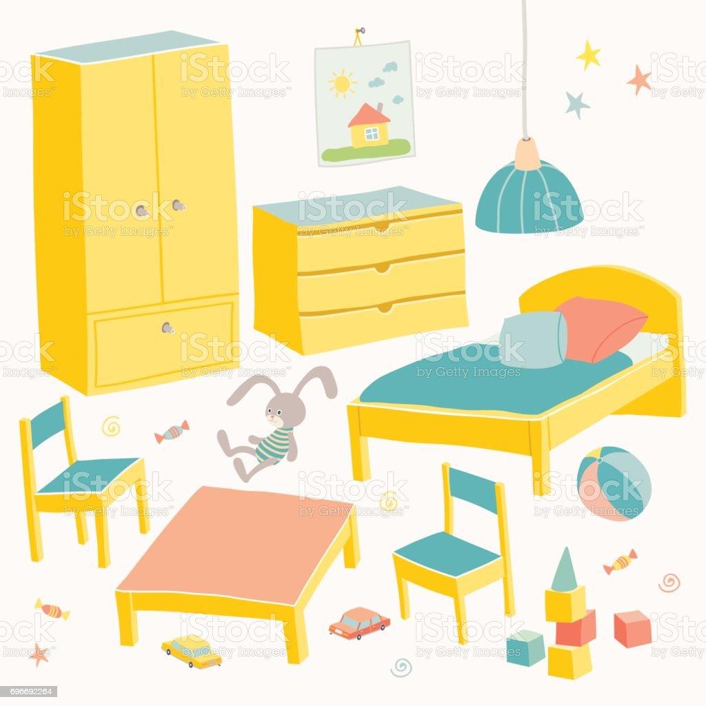 Ilustración de Conjunto De Muebles Para La Habitación De Los Niños ...