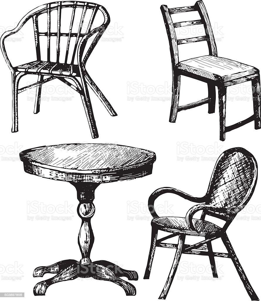 Stuhl gezeichnet  Satz Von Möbel Von Hand Gezeichnete Darstellung Der Einen Tisch ...