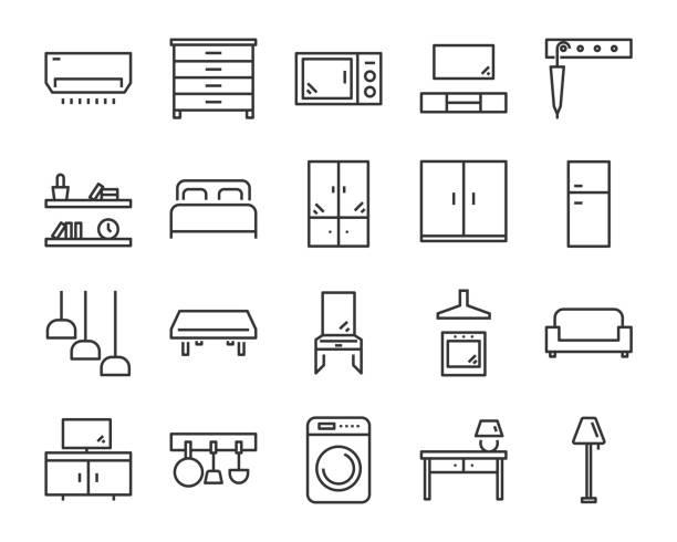 satz von möbel-ikonen wie bett, stuhl, schreibtisch - leinensofa stock-grafiken, -clipart, -cartoons und -symbole