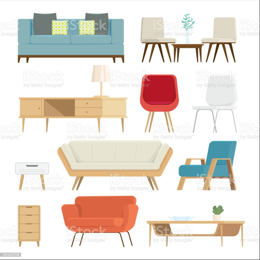 Set of furniture Interior and home accessories. Sofas with pillows, lamps isolated background. vector illustration vector art illustration