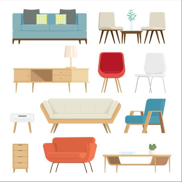 bildbanksillustrationer, clip art samt tecknat material och ikoner med uppsättning av möbler interiör och hem tillbehör. soffor med kuddar, lampor isolerade bakgrund. vektorillustration - möbel