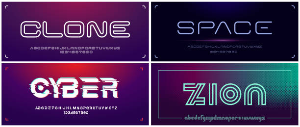 Set of futuristic display fonts for headlines and s Set of futuristic display fonts for headlines and s. All elements are on the separate layers. electronic music stock illustrations