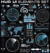 Set of futuristic graphic user interface HUD