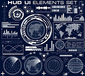 Set of futuristic graphic user interface HUD. Infographic design UI elements and radar screens. Head up display vector illustration.