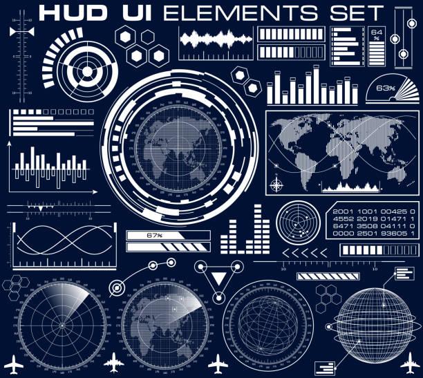 ilustrações de stock, clip art, desenhos animados e ícones de set of futuristic graphic user interface hud - visor digital