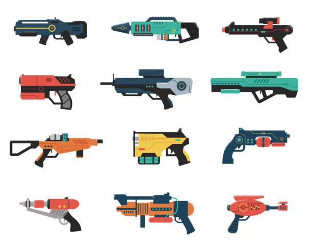 Set of Futuristic Weapons Futuristic gun illustrations weapon stock illustrations