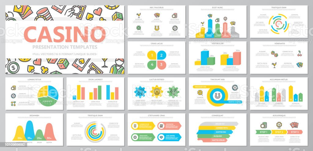 Set of gambling and casino elements for multipurpose presentation template slides with graphs and charts. Leaflet, corporate report, marketing, advertising, book cover design. vector art illustration