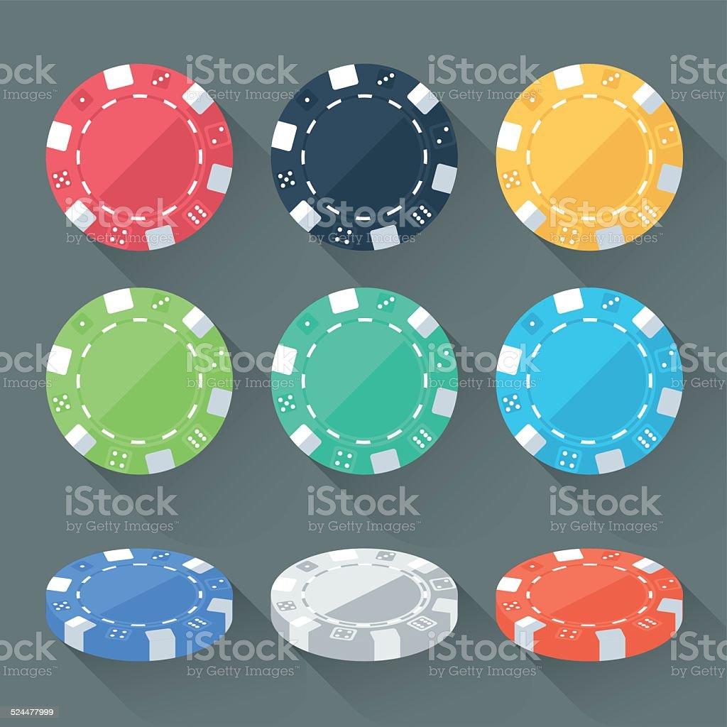 Set of Gambling Chips vector art illustration