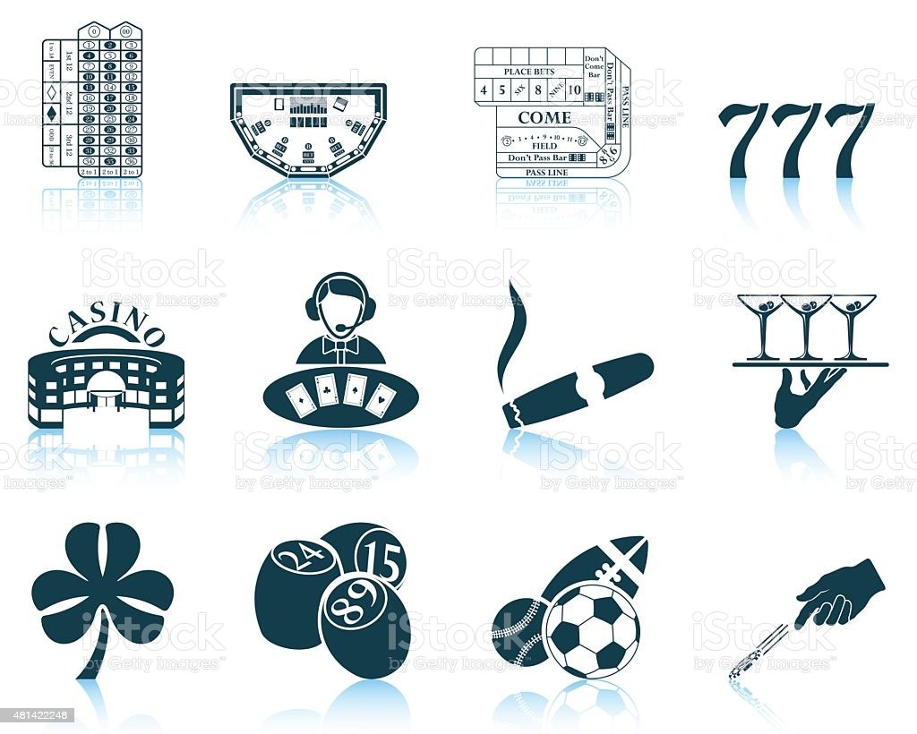 Set of gambling icons vector art illustration