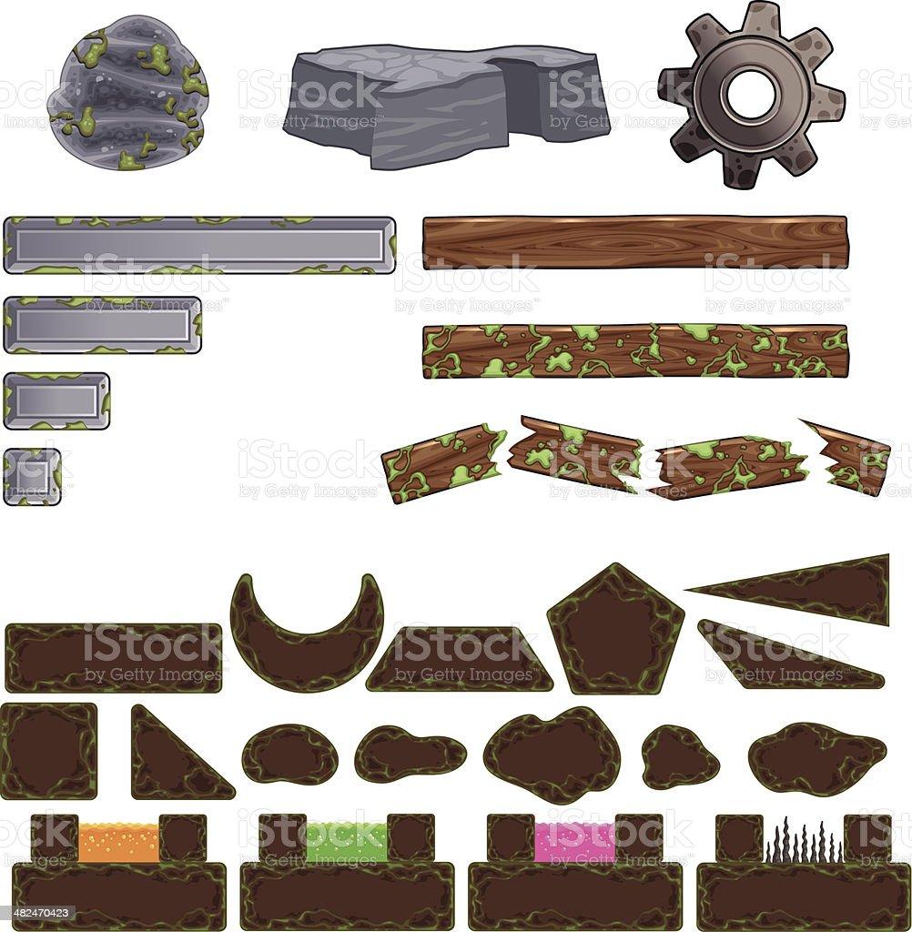 Set of game elements. vector art illustration