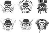 Set of  gangsta skulls isolated on white background. Design