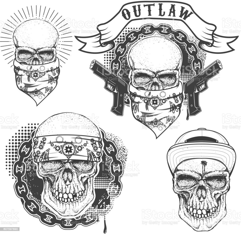 Set of gangster tattoo. Hand drawn skull with bandana. Skull vector art illustration