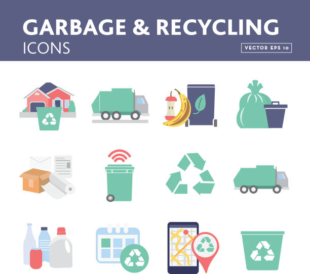 set of garbage and recycling icons and symbols - composting stock illustrations