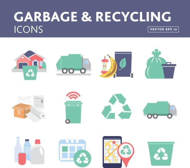 illustrazioni stock, clip art, cartoni animati e icone di tendenza di set of garbage and recycling icons and symbols - composting