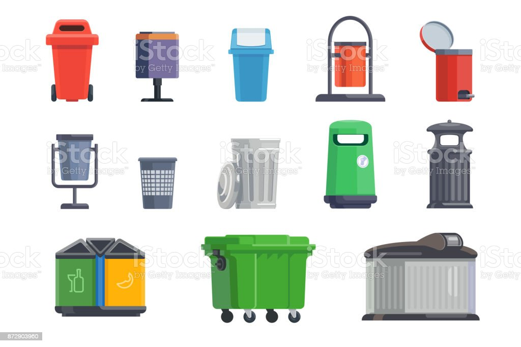 Set of garbage cans for home and street royalty-free set of garbage cans for home and street stock illustration - download image now