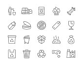 Set of Garbage Line Icons. Recycle, Waste Factory, Trash Truck, Toxic Container, Tin Can, Battery Recycling, Broken Glass, Plastic Bag and more.