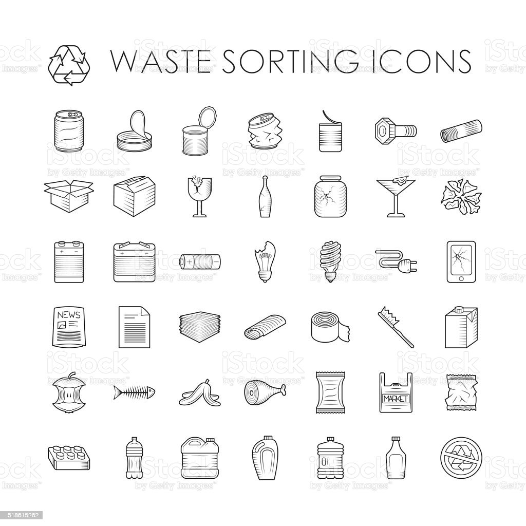 Set of garbage separation recycling related waste sorting outline icons vector art illustration