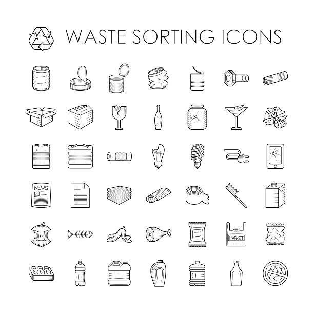 ein satz von müll trennung wiederverwertung abfall, die sortierung kontur symbole - plastikhülle stock-grafiken, -clipart, -cartoons und -symbole
