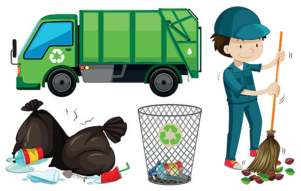 Set Of Garbage Truck And Janitor Vector Art Illustration
