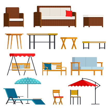 Set of garden and outdoor furniture