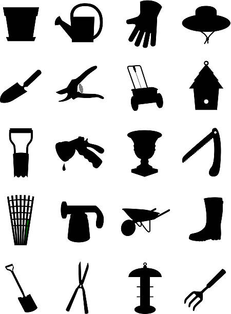 Set of garden icons vector art illustration