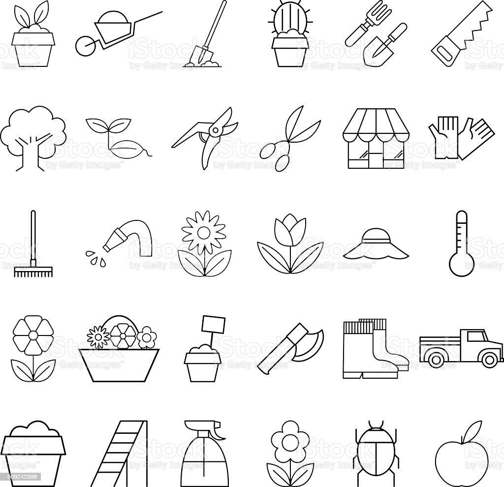 ein satz von pflanzen symbole garten stock vektor art und mehr bilder von ausr stung und ger te. Black Bedroom Furniture Sets. Home Design Ideas