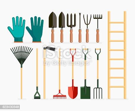 Set of garden tools and gardening items.