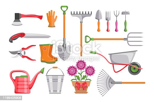 Set of garden tools isolated on white background. Bucket, wheelbarrow, shovel, pitchfork, rake, pruner, ax, saw, watering can, plant in pot.  Stock vector illustration in cartoon simple flat style.