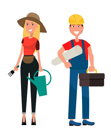 Set of Gardener Woman and Builder Man Flat Design