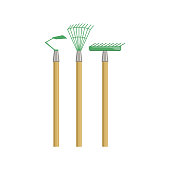 Set Of Gardening Equipment With Rake And Chopper