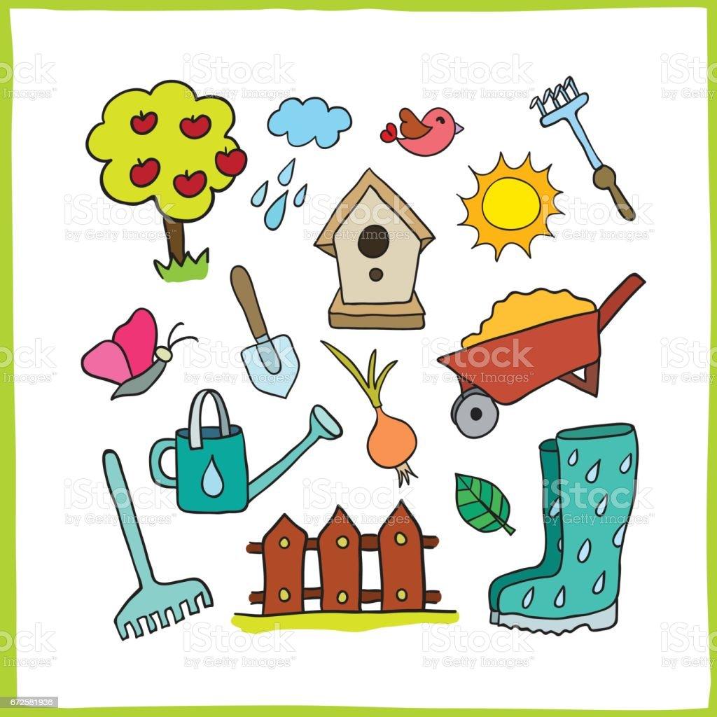 Set of gardening objects. vector art illustration