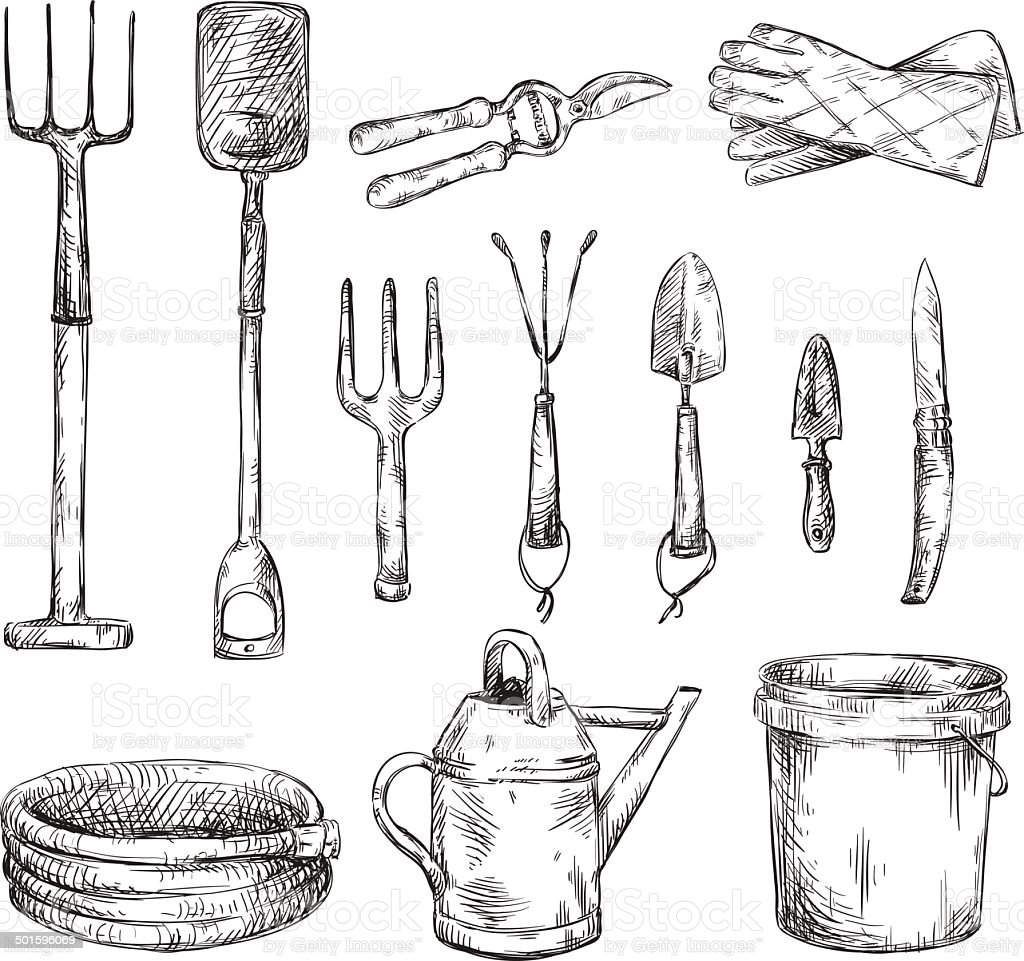 Set of gardening tools drawings vector illustrations stock for Imagenes de jardineria
