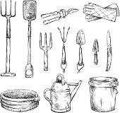 Set of gardening tools drawings, vector illustration EPS 10