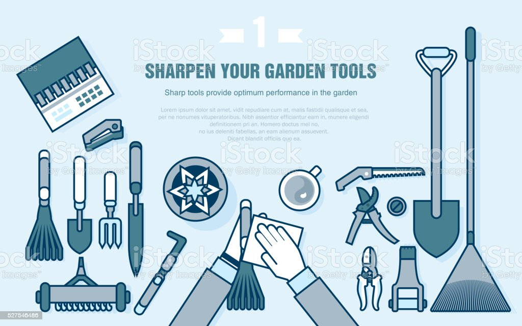 set of gardening tools for working in the vegetable garden vector art illustration