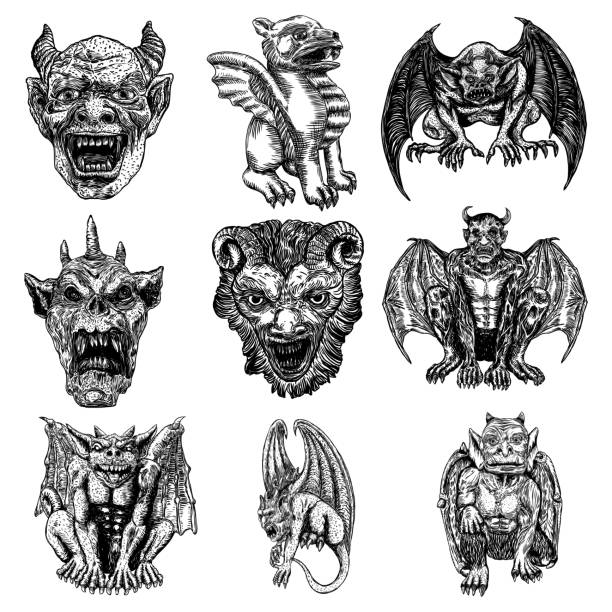 illustrazioni stock, clip art, cartoni animati e icone di tendenza di set of gargoyle in sitting aggressive position to attack.  human and dragon bat like demon chimera fantastic beast creature with horns fangs and claws. hand drawn gothic guardians at medieval. vector - gargoyle
