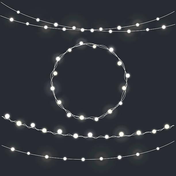 ilustrações, clipart, desenhos animados e ícones de set of garland christmas lights - bordas florais