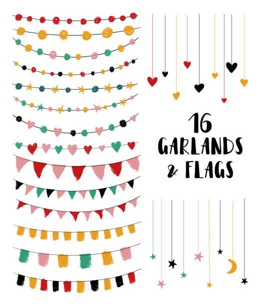 illustrations, cliparts, dessins animés et icônes de ensemble de guirlandes et de drapeaux. - guirlande