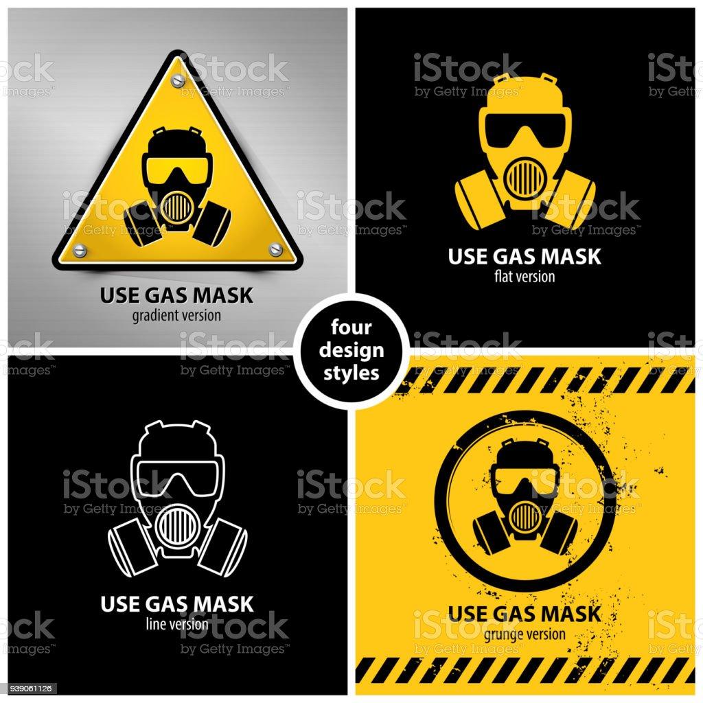 set of gas mask symbols