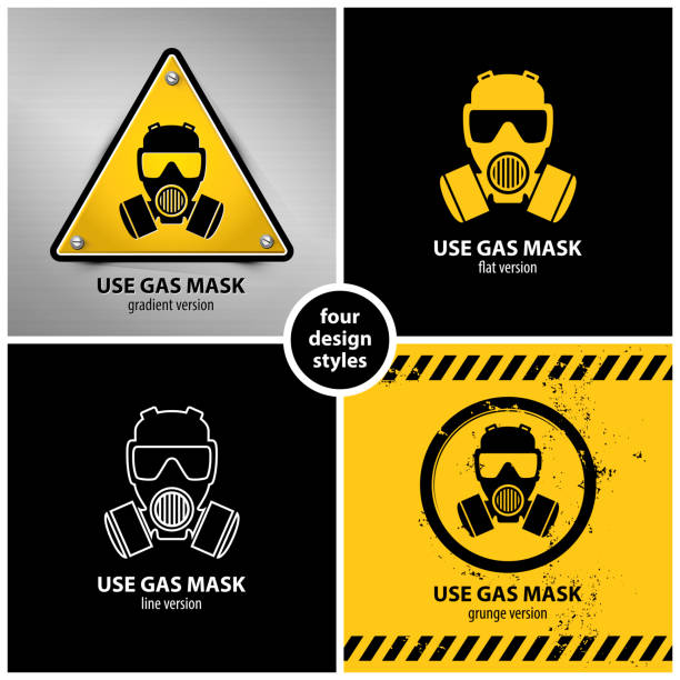 set of gas mask symbols set of gas mask symbols containing four unique design elements in different variations: gradient, flat, line and grunge style, eps10 vector illustration poisonous stock illustrations
