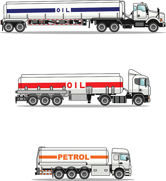 Set of gasoline trucks isolated on a white background. vector art illustration