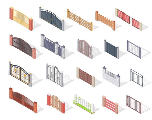 Set of Gates and Fences In Isometric Projection Set of gates and fences vectors. Isometric projection. Collection of metal, wrought iron, lattice and wooden gates and fences for yard. For gaming environment, app, web design. Isolated on white gate stock illustrations