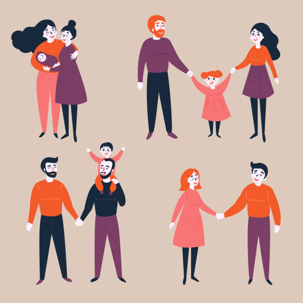 Set of gay lgbt and traditional couples Homosexual lgbt non-traditional and traditional families. Different couples, heterosexual, gay and lesbian. Equality in rights illustration. gay person stock illustrations