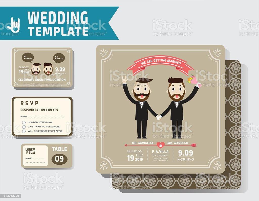Ein Set Von Schwule Hochzeit Einladung Vorlage. Lizenzfreies Ein Set Von  Schwule Hochzeit Einladung Vorlage