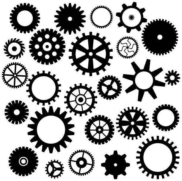 satz von zahnrad-symbol - steampunk stock-grafiken, -clipart, -cartoons und -symbole