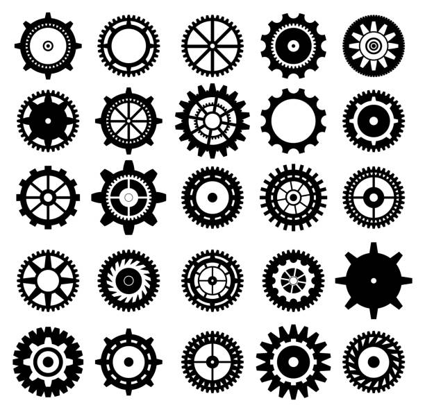 Set of gear icons Collection of retro gear icon. Vector vintage transmission cogwheels and gears. Can be used for industrial, technical, mechanical and steampunk design. EPS8 apparatus stock illustrations