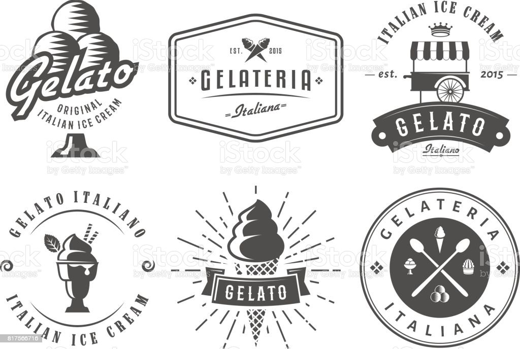 Set of gelato badges.