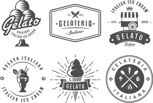 Set of gelato badges.