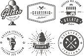 Set of gelato badges. Vector italian ice cream labels. Retro s for cafeteria or bar.