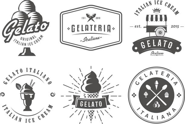 Set of gelato badges. vector art illustration