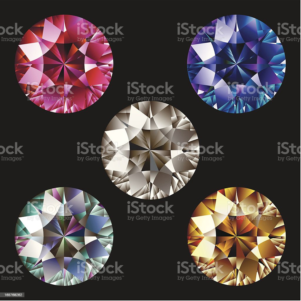 Set of gems vector art illustration